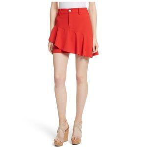 Alice + Olivia Nisa Ruffle Miniskirt Red 6